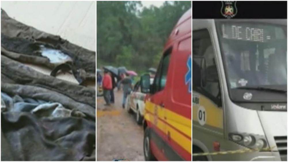 Roupas da jovem; local onde o corpo foi encontrado; e ônibus escolar - RIC TV Record/Divulgação
