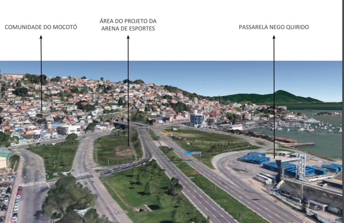 Arena vai ficar entre a comunidade do Mocotó e a passarela Nego Quirido - reprodução, ND