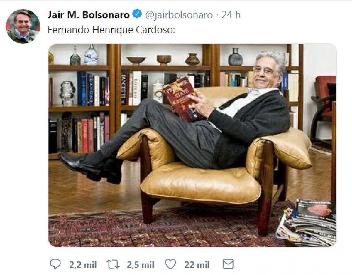 Foto foi postada por Bolsonaro em sua conta no Twitter - Reprodução/Twitter