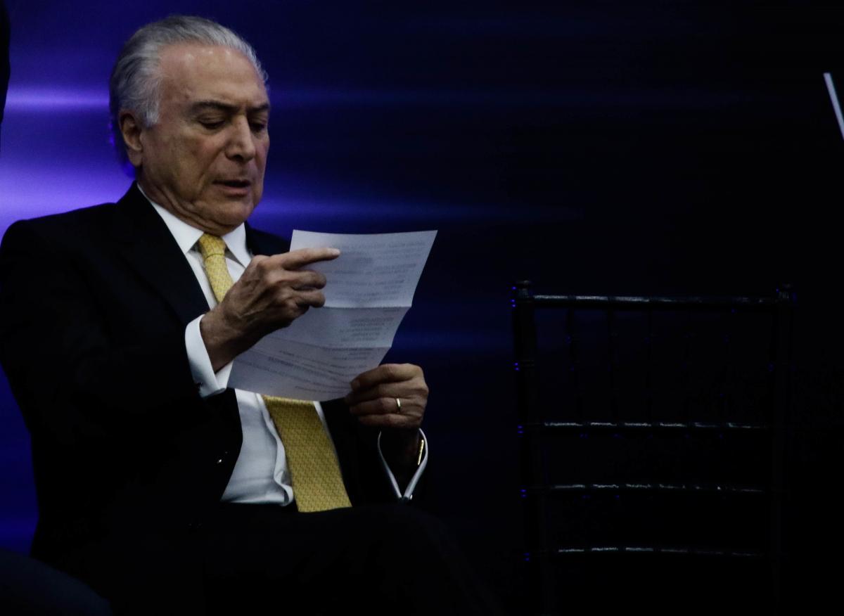 Temer assinou o decreto na abertura oficial do Salão do Automóvel, em São Paulo - ALOISIO MAURICIO/FOTOARENA/ESTADÃO CONTEÚDO
