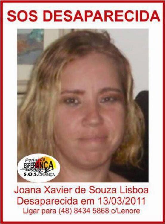 Joana Xavier de Souza Lisboa desapareceu em Florianópolis há sete anos - DPPD-SC/Divulgação