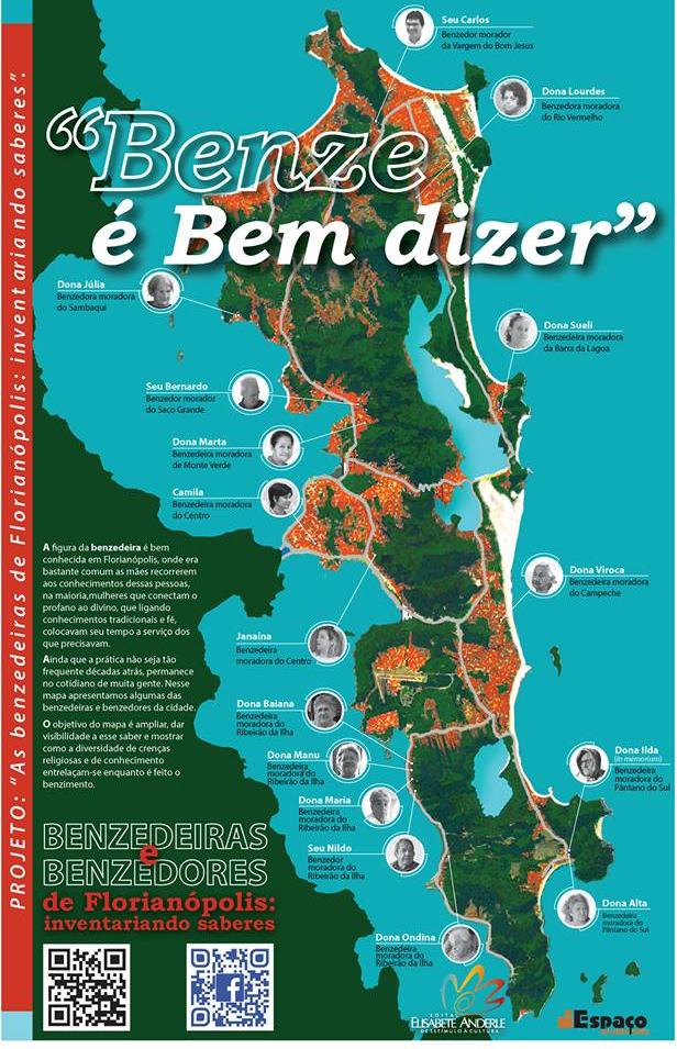 Pesquisa etnográfica resultou em um mapa físico com a localização das benzedeiras da Ilha - Facebook/Divulgação/ND