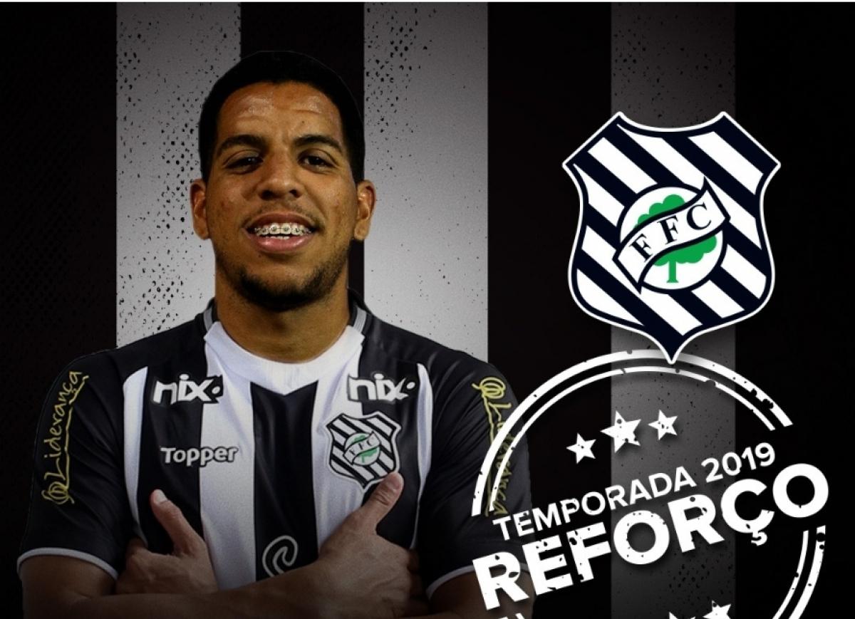Atacante Yuri foi anunciado pelo Figueirense na noite desta terça-feira - Reprodução App oficial Figueirense