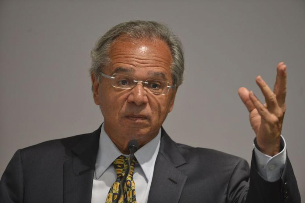 O ministro da Economia, Paulo Guedes, discursa na solenidade de transmissão de cargo - Valter Campanato/Agência Brasil