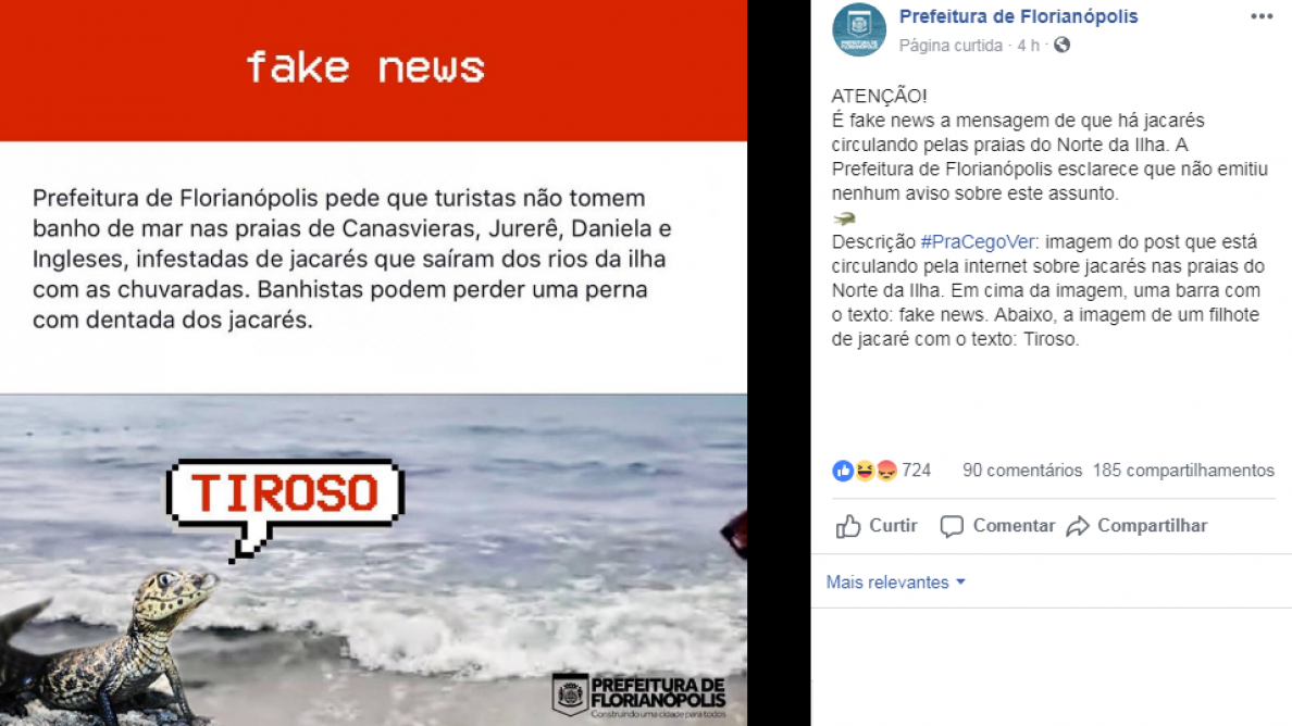Prefeitura compartilhou post falso e desmentiu informação pelas redes sociais - Reprodução/PMF