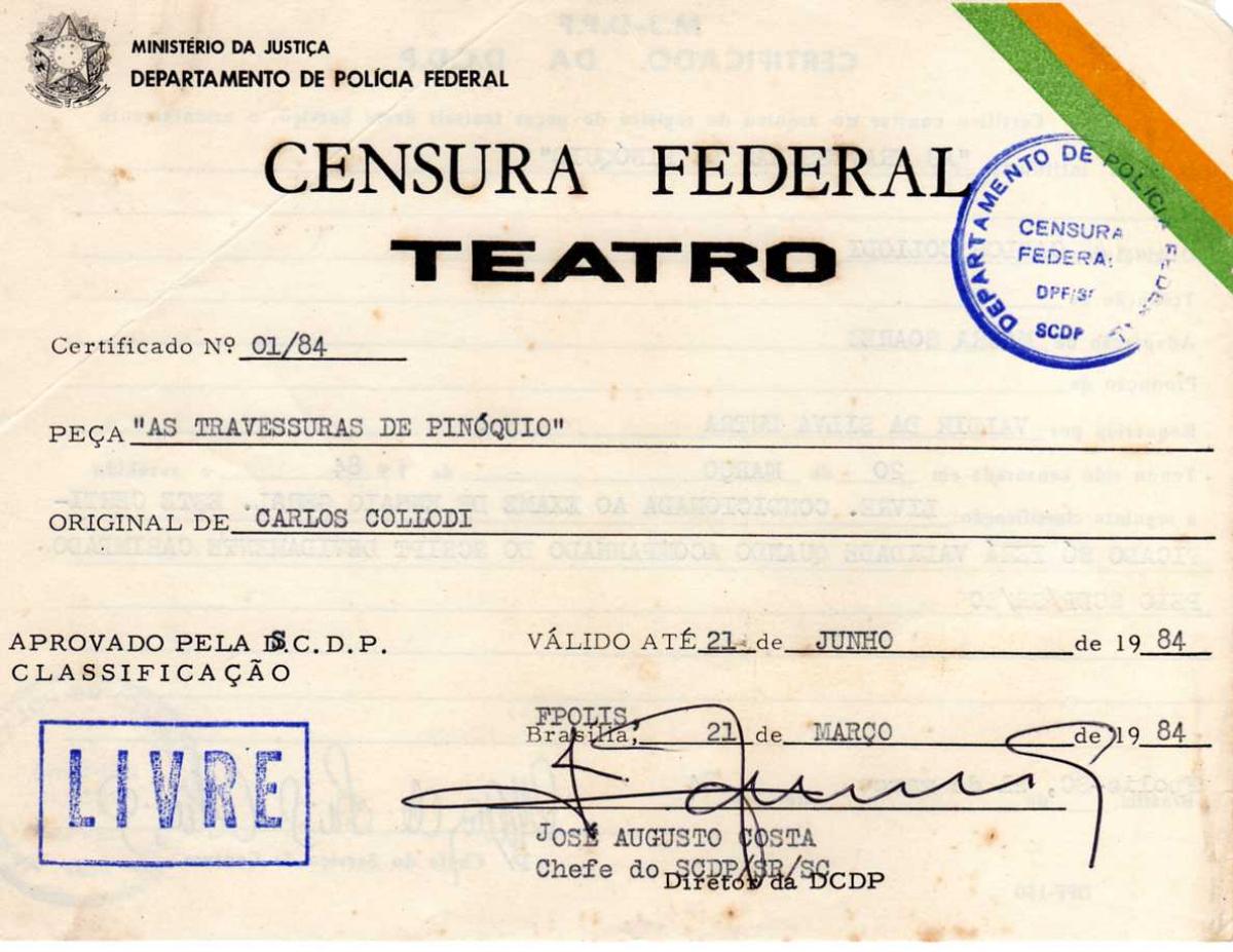 Relíquia; liberação da censura para peça infantil, no último ano da ditadura civil-militar (1984) - Divulgação