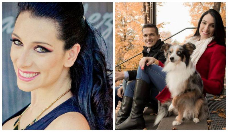 Duas imagens de Tatiane Spitzner, mulher assassinada pelo marido. Na foto da esquerda, Tatiana sozinha e na foto da direita, Tatiana com o marido e um cachorro. Fim da descrição