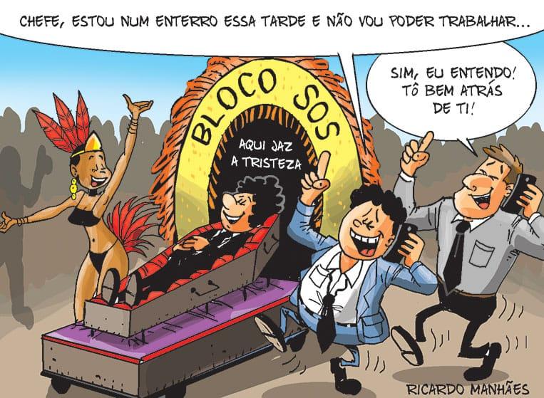 O tradicional Enterro da Tristeza, em Florianópolis, é o assunto da charge do Notícias do Dia desta quinta-feira, por Ricardo Manhães
