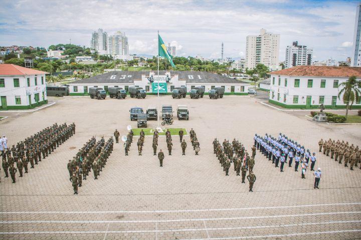 Solenidade juntou tropas das três forças militares no pátio do 63º BI – Divulgação Exército Brasileiro