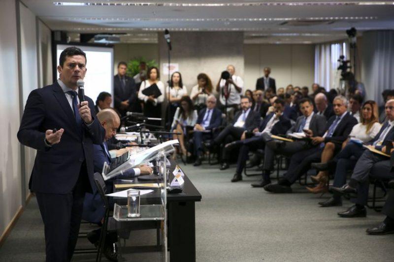 O ministro da Justiça e Segurança Pública, Sergio Moro, durante reunião para discutir sugestões ao Projeto de Lei Anticrime – Foto: Marcelo Camargo/ Agência Brasil