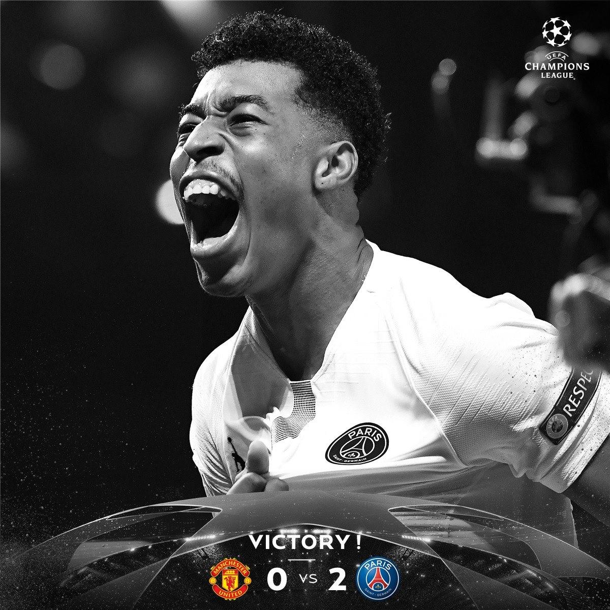 PSG venceu o Manchester United na noite desta terça, na Inglaterra - Reprodução Facebook/PSG/ND