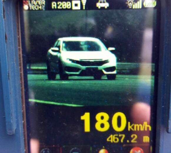 Condutor de um Honda/Civic foi flagrado abusando da velocidade na rodovia - PRF/Divulgação/ND