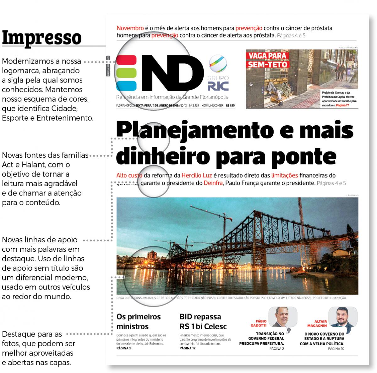 Novo projeto gráfico do ND - Divulgação/ND