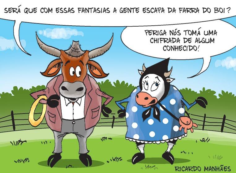 A farra do boi é tema da charge de Ricardo Manhaes para o Notícias do Dia desta terça-feira.