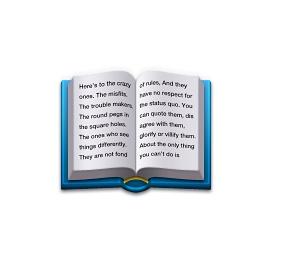 Poderia ser apenas um livro azul aberto, mas novamente a Apple inseriu uma mensagem em um emoji. Ele traz uma mensagem em inglês que fez parte da campanha publicitária