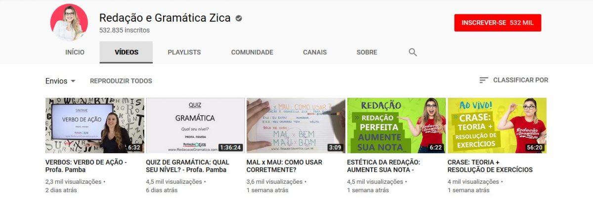 13. Redação e Gramática Zica (www.youtube.com/redacaoegramatica) - Crédito: Reprodução YouTube/33Giga/ND