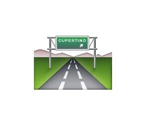 Representando uma rodovia, este emoji possui uma curiosidade escondida nas versões para iOS. Na placa há a indicação para Cupertino, que é a cidade norte-americana em que fica a sede da Apple. - Crédito: Reprodução/Emojipedia/33Giga/ND
