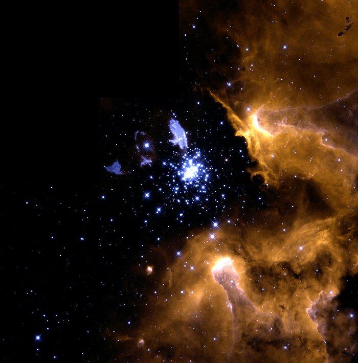 Nesta imagem da nebulosa galáctica NGC 3603 é possível ver vários estágios do ciclo de vida das estrelas em uma única visão. - Crédito: Wolfgang-Brandner-JPL_IPAC-Eva-K.-Grebel-Univ.-Washington-You-Hua-Chu-Univ.-Illinois-Urbana_Champaign-and-NASA_ESA/33Giga/ND