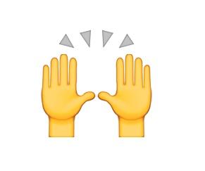 Agradecimento divino? Mais um emoji que é compartilhado com outra intenção. Na realidade, ele representa uma comemoração ou conquista pessoal. - Crédito: Reprodução/Emojipedia/33Giga/ND