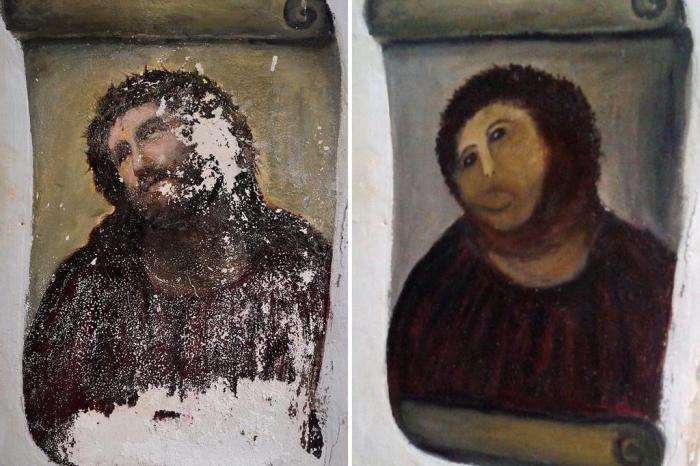 """Jesus Restaurado – Em 2012, a artista Cecilia Giménez, de 81 anos, decidiu restaurar por conta própria o afresco do século XIX """"Ecce Homo"""". Só que ela acabou desfigurando o rosto de Jesus Cristo, criando traços completamente distintos da obra original. A """"pior restauração da história"""" virou notícia ao redor do mundo e acabou se tornando um querido meme. - Crédito: Reprodução Internet/33Giga/ND"""
