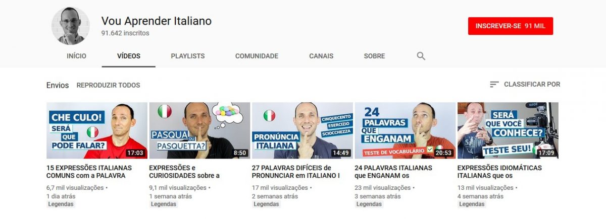 7. Vou Aprender Italiano (http://bit.ly/2XSEFe7) - Crédito: Reprodução YouTube/33Giga/ND