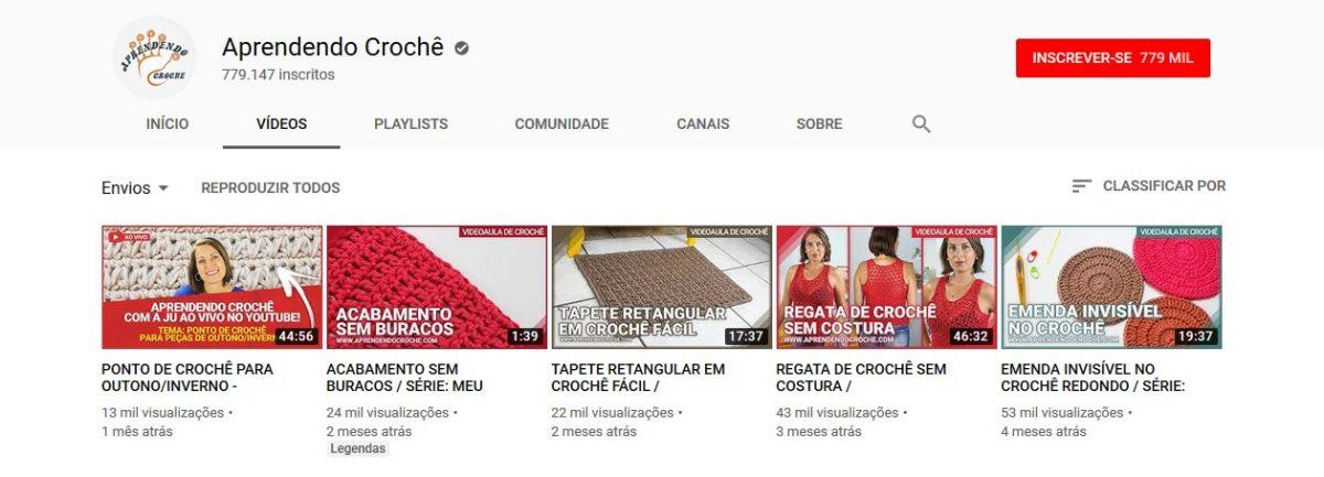 12. Aprendendo Crochê (www.youtube.com/aprendendocroche) - Crédito: Reprodução YouTube/33Giga/ND