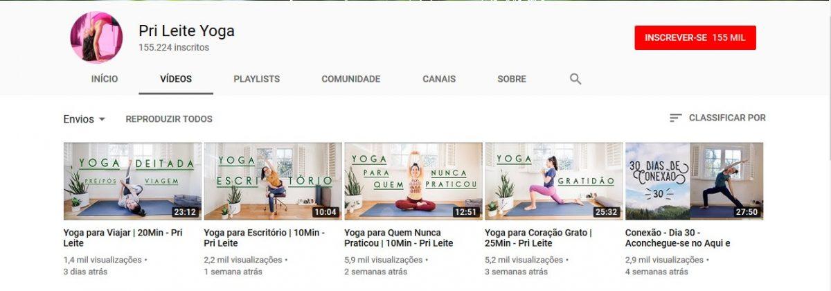 3. Pri Leite Yoga (http://bit.ly/2VCCG07) - Crédito: Reprodução YouTube/33Giga/ND
