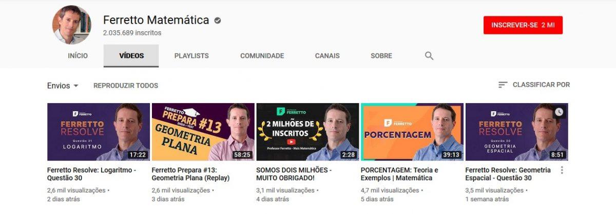 14. Ferretto Matemática (www.youtube.com/professorferretto) - Crédito: Reprodução YouTube/33Giga/ND