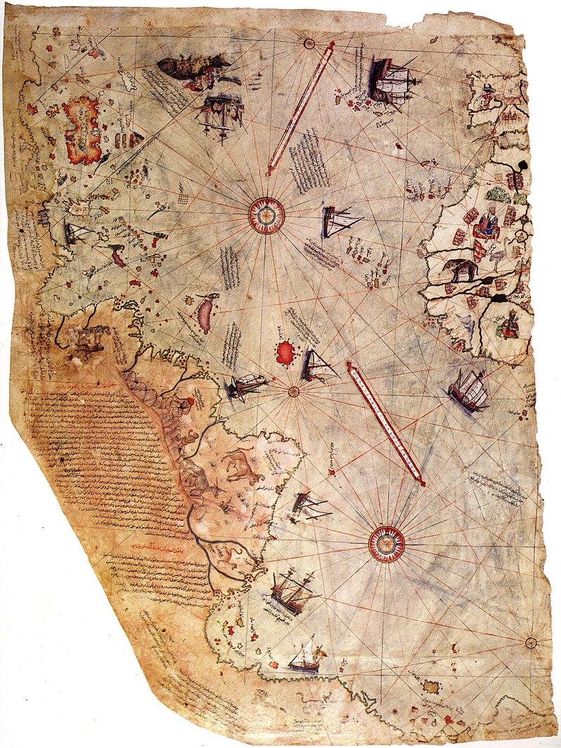 Mapa de Piri Reis – É um fragmento de um mapa feito pelo almirante, geógrafo e cartógrafo Piri Reis, em Constantinopla, em 1513. Este é o primeiro mapa que mostra a costa ocidental da Europa, a norte da África, a borda leste da América do Sul e a costa do Brasil. - Crédito: Domínio público /33Giga/ND
