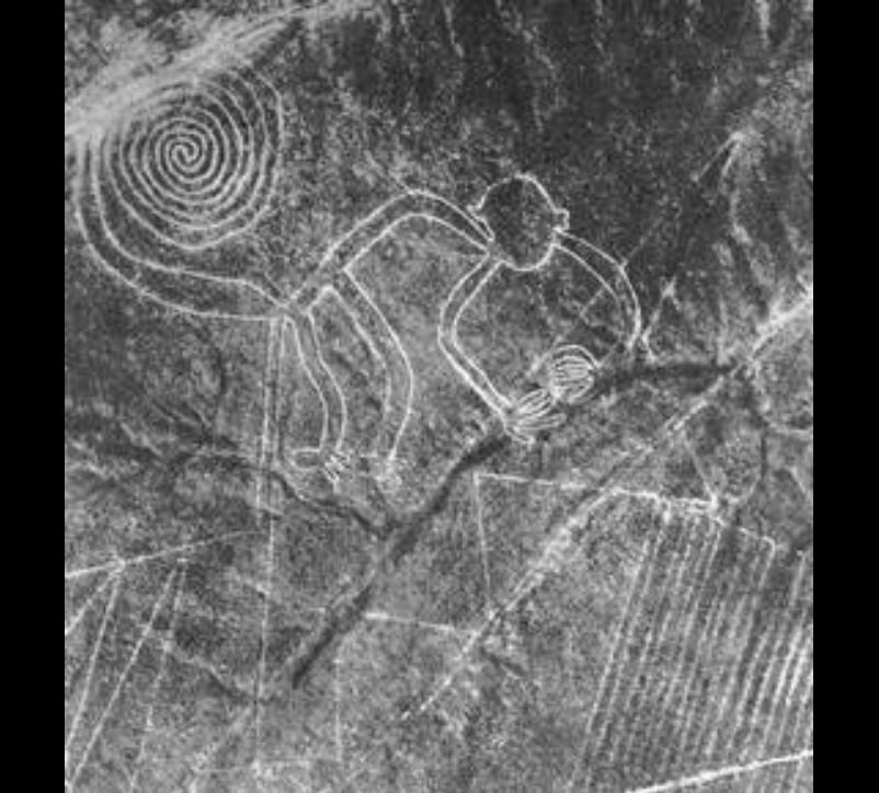 Linhas de Nazca - As linhas de Nazca, no Peru, são diversas figuras formadas por linhas rasas no solo. Criadas pela civilização de Nazca entre 400 e 650 d.C. As linhas formam imagens como macaco, aranha, cata-vento, passarinho, árvore, sapo, beija-flor e várias outras. - Crédito: Maria-Reiche/33Giga/ND