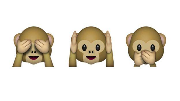Os emojis dos macacos tapando os olhos, as orelhas e a boca ilustram o provérbio japonês: