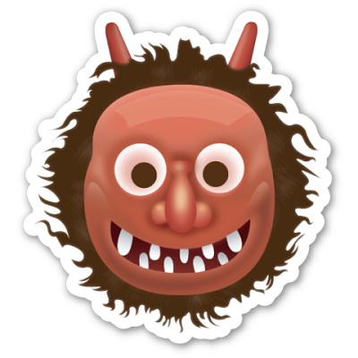 O emoji vermelho com dentes separados, chifres e cabelo desarrumado representa Namahage. De acordo com a cultura japonesa, ele é uma espécie de bicho-papão que sai para buscar crianças que tenham se comportado mal e também para afugentar os espíritos malignos das casas. - Crédito: Reprodução Internet/33Giga/ND
