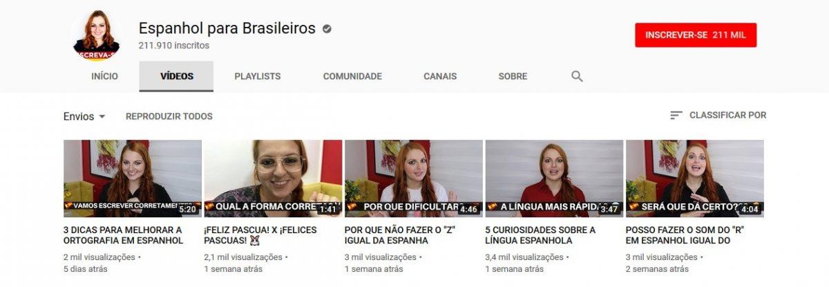 5. Espanhol para Brasileiros (http://bit.ly/2UOfmrF) - Crédito: Reprodução YouTube/33Giga/ND