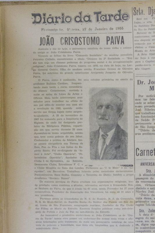 reprodução de matéria sobre João Crisóstomo Paiva, porteiro que salvou livros e acervo da instituição – Flavio Tin/ND