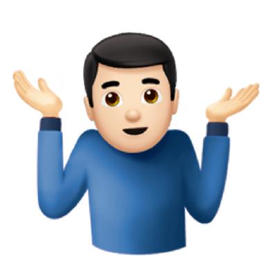 Ao encolher os ombros, o emoji indica falta de conhecimento sobre um tópico em particular ou a falta de controle sobre o resultado de uma situação. O gesto é conhecido como