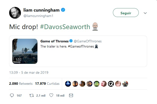 Liam Cunningham – Davos Seaworth - Crédito: Reprodução/Twitter/33Giga/ND