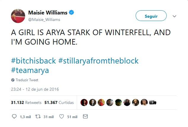 Tweets populares de atores de Game of Thrones: Maisie Williams – Arya Stark - Crédito: Reprodução/Twitter/33Giga/ND