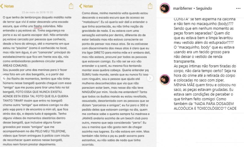 Parte da descrição feita por Mariana – Reprodução/Instagram/ND