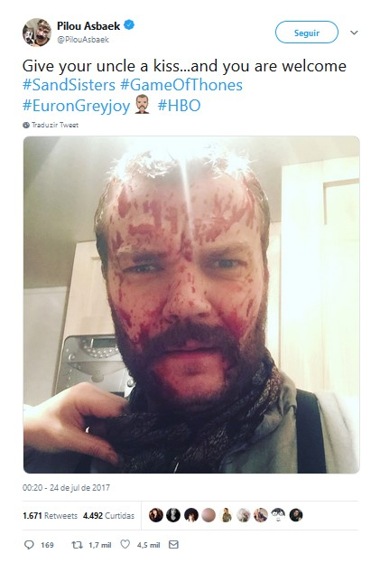 Johan Philip Asbæk – Euron Greyjoy - Crédito: Reprodução/Twitter/33Giga/ND