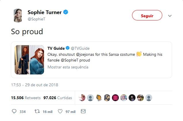 Sophie Turner – Sansa Stark - Crédito: Reprodução/Twitter/33Giga/ND
