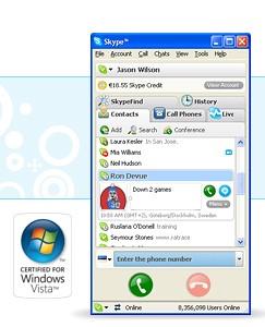 Em 2008, o Skype ganha uma versão para o Windows Vista... - Foto: Divulgação/33Giga/ND