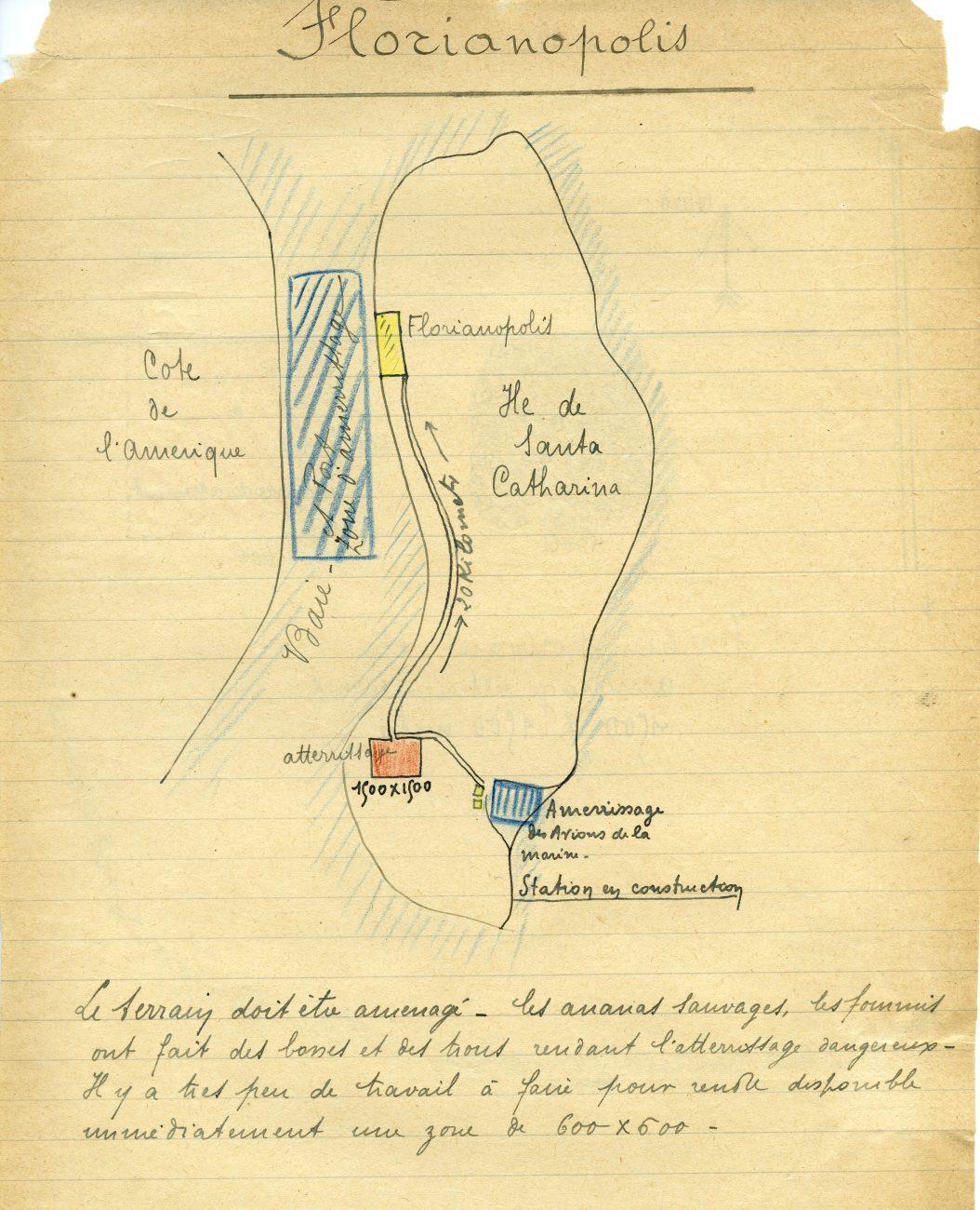 Desenho da ilha e do terreno, feito provavelmente pelos pilotos Roig ou Vachet - Bernard Bacquié/Acervo Amab/Divulgação