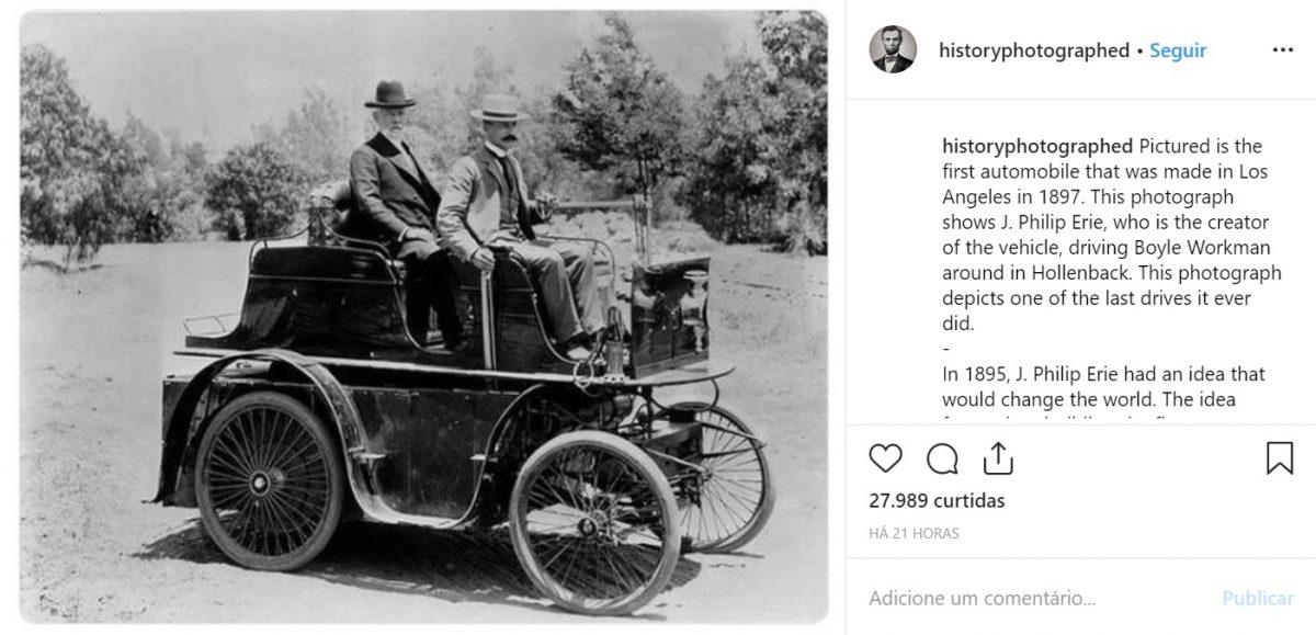 Na foto, o primeiro automóvel feito em Los Angeles (EUA), em 1897 - Crédito: reprodução/33Giga/ND