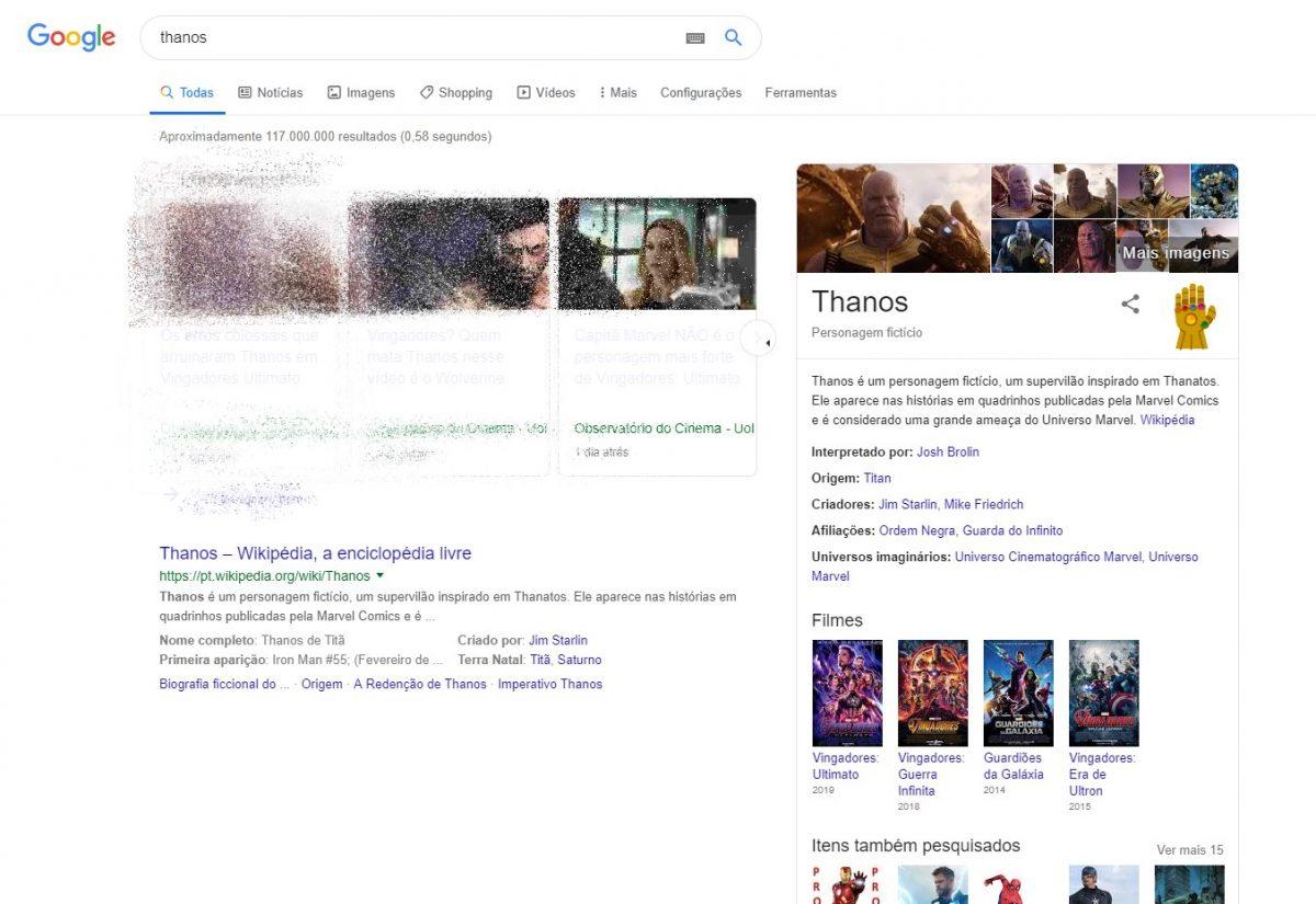 Thanos - Buscar pelo vilão da Marvel vai devastar os resultados da pesquisa - Reprodução /33Giga/ND