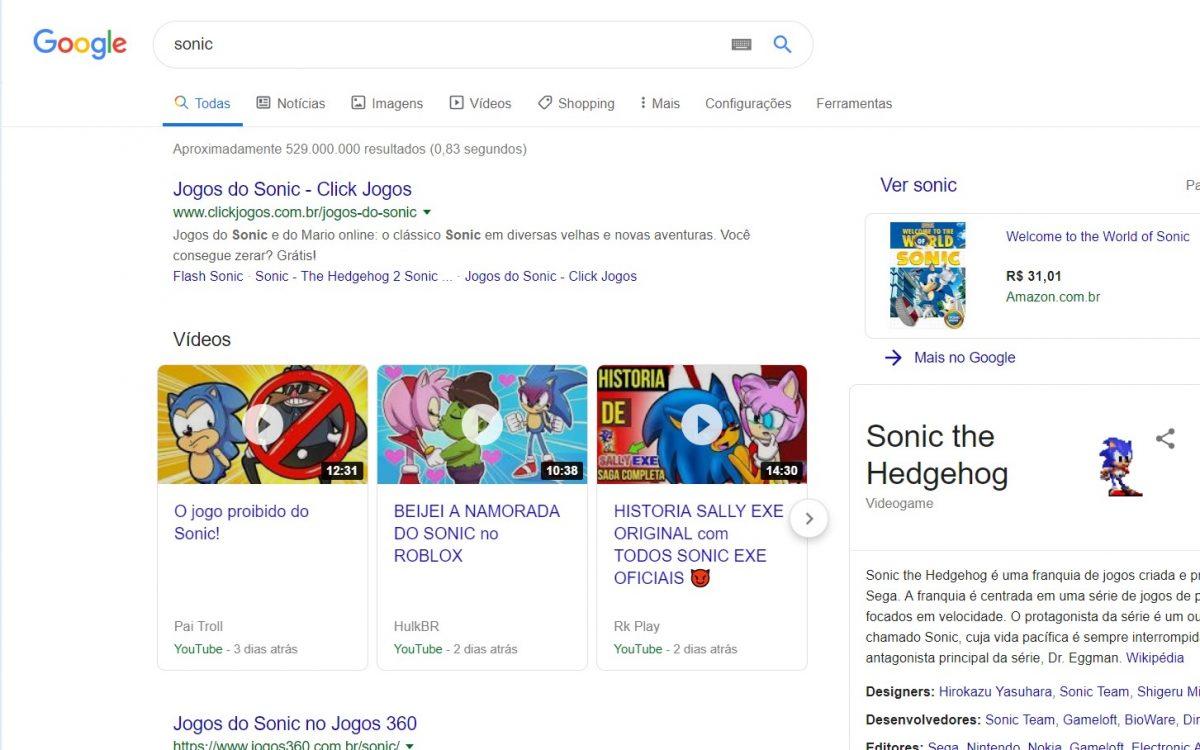 Sonic - Clique no ouriço (no canto direito da tela) e veja ele rolar - Reprodução /33Giga/ND