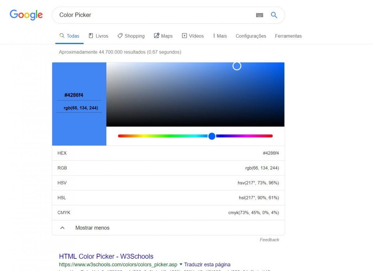Color Picker - o Google mostra todas as informações e os padrões de cores em uma tabela navegável por meio do mouse ou códigos HTML. - Reprodução /33Giga/ND