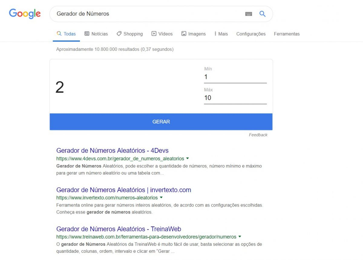 Gerador de Números - nessa dinâmica, o Google sorteia um número aleatório entre um mínimo e um máximo. Muito legal para sorteios. - Reprodução /33Giga/ND