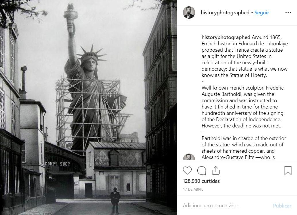 Estátua da Liberdade em Paris pouco antes de ser desmontada e enviada para Nova York, nos Estados Unidos - Crédito: reprodução/33Giga/ND