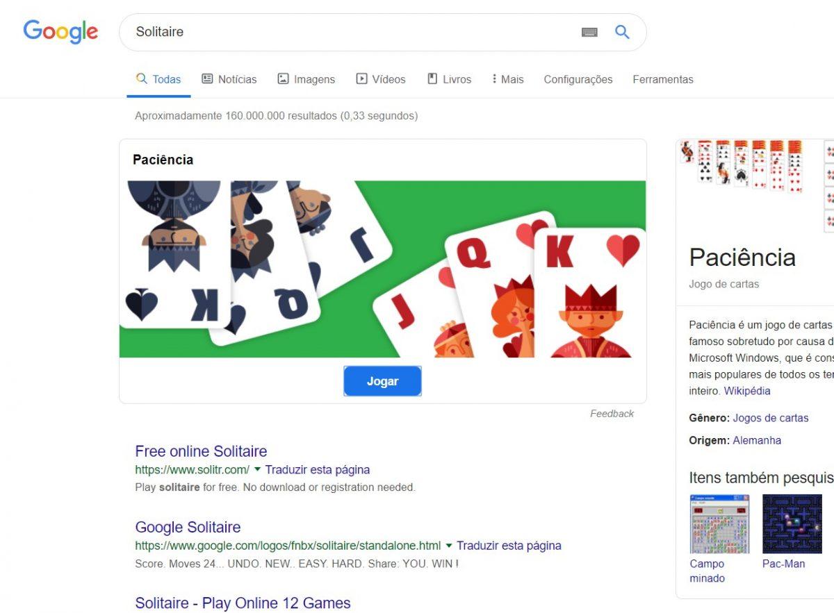 Paciência - Entediado no escritório? Basta pesquisar por paciência no Google para a jogatina começar - Reprodução /33Giga/ND