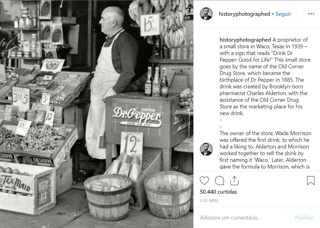 Proprietário de uma mercearia em Waco, no Texas (EUA), em 1939 - Crédito: reprodução/33Giga/ND